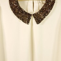 Sequins Peter Pan Collar Blouse  - Retro, Indie and Unique Fashion