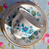 Queen Anne Retro Teal Blue Floral Vintage China Teacup, Saucer and Tea Plate Trios
