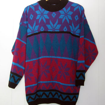 Vintage Oversize Knit Hipster Sweater Snowflake M/L