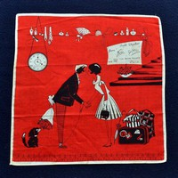Red French Lovers Vintage Handkerchief | VintageAnelia - Accessories on ArtFire