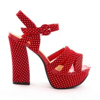 Red Heel Sandals with All Over Retro Dots