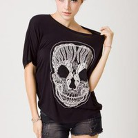Black Lace Skull Short Sleeve Tee