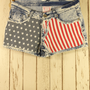 American Flag Washed Denim Shorts