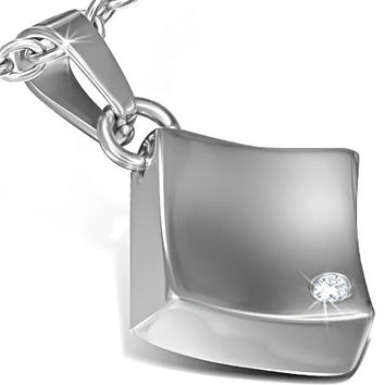 Stainless Steel Engravable Square Charm Pendant w/ CZ