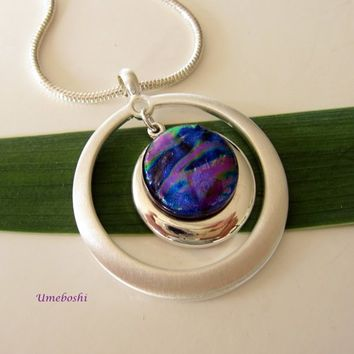 Eccentricity Double Circle Dichroic Glass Silver Plated Pendant