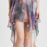 Galaxy Asymmetric Waterfall Chiffon Skirt