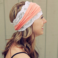 Peach and Stretch Lace Headband