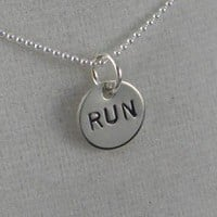 STERLING SILVER RUN, 5K, 10K, 13.1 or 26.2 Sterling Silver pendant on a 16 inch sterling silver ball chain - Additional lengths available