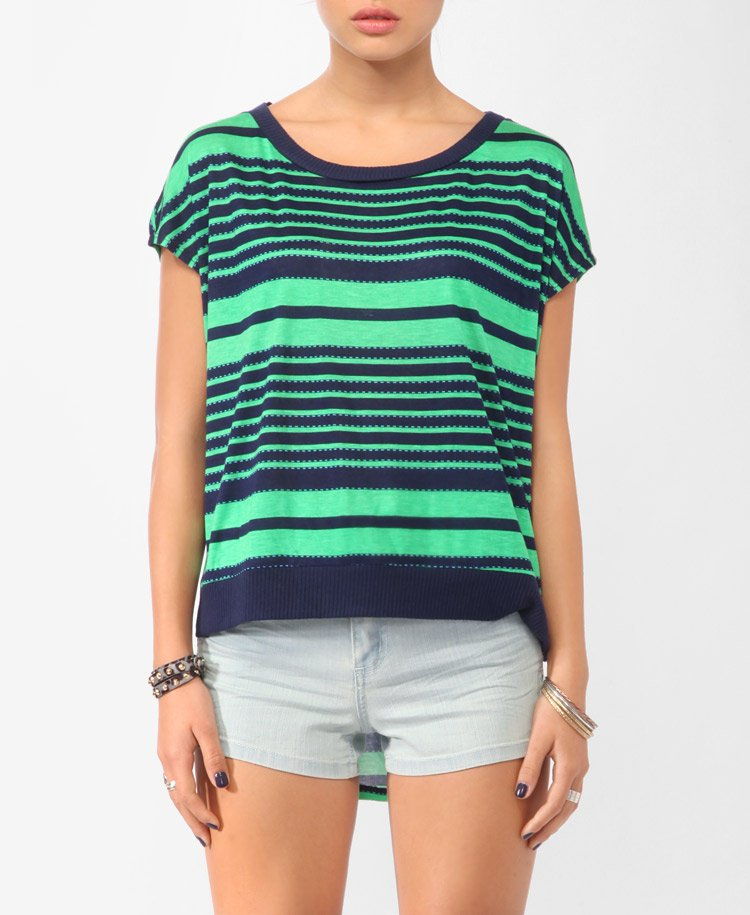 Retro Striped High-Low Top