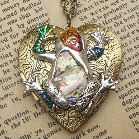 Steampunk Frog Locket Necklace Vintage Style Original Design