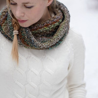 Hand knitted chunky women cowl spring trends rustic woodland green brown OOAK noro