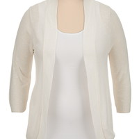 Open Stitch ruched back plus size cardiwrap