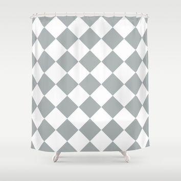 Diamond Grey & White Shower Curtain by BeautifulHomes   Society6