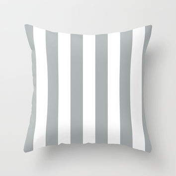 Stripe Vertical Grey & White Throw Pillow by BeautifulHomes | Society6
