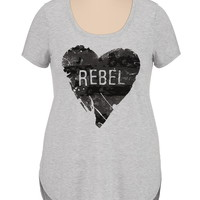 high-low rebel heart plus size graphic tee