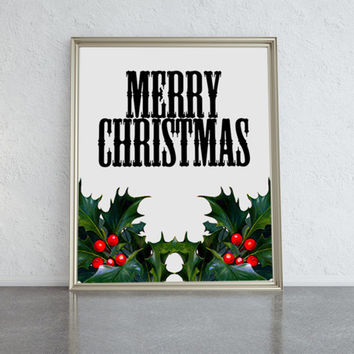 Merry Christmas typographic print with green and red holly sprigs. Holiday wall art decor, ideal gift.