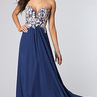 Low Cut Strapless Prom Gown by Faviana