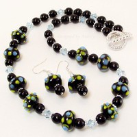 Black, Yellow and Turquoise Lampwork and Crystal Necklace and Earring Set