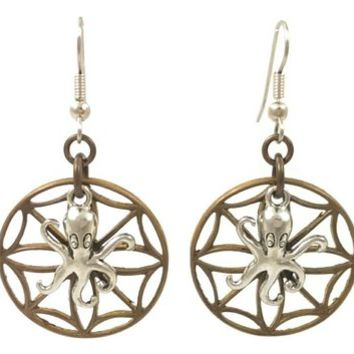 Surgical Steel and Brass Dangle Earrings Octopus