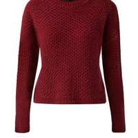 Burgundy Honeycomb Knit Crew Neck Jumper