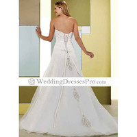 Stunning A-line Sweetherat Semi-Cathedral Train Satin and Organza with Beading and Embroider Wedding Dress [TBE52AL] - $173.99 : wedding fashion, wedding dress, bridal dresses, wedding shoes