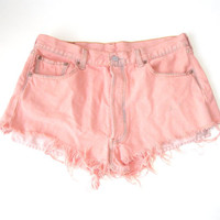 Vintage Peach High Waist Cut Off Frayed Levi Shorts 32