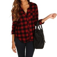 Promo-red Checkered Plaid Shirt