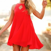 Shift Your Ground Red Dress - Lotus Boutique