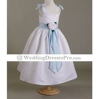 A-line V-neck Tea-length Taffeta Flower Girl Dress (WSW0259) [TWL0407054] - $64.99 : wedding fashion, wedding dress, bridal dresses, wedding shoes