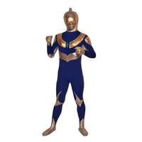 Catsuits & Zentai Nevy And Yellow Shiny Metallic Ultraman Superman Zentai [TOQ111215006] - $42.99