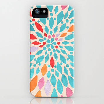 Radiant Dahlia - teal, orange, coral, pink watercolor pattern iPhone & iPod Case by Tangerine-Tane