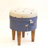 Hatbox Ottoman ? Blue Dot ? Seating ? Recreate