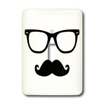 lsp_181830_1 Janna Salak Designs Hipster - Hipster Glasses and Mustache - Light Switch Covers - single toggle switch