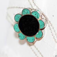 Sugar Skull Flower Pendant/ Necklace - Stainless Steel with Turquoise & Black Tinted Concrete