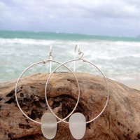 Hawaiian Clear Nugget-Like Beach Glass on Silver Plated Circular Wire Hoop Earrings