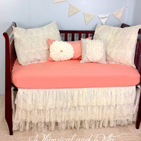 Shabby Chic Salmon and Lace Baby Crib Bedding - Salmon Pink and Ivory - Ruffled Tiered Lace Crib Skirt - Cotton Crib Sheet - 4 Pillow Shams