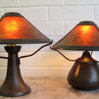 SALE-- Copper Table Lamps - Arts and Crafts