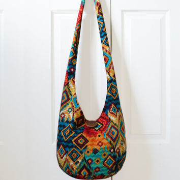 Hobo Bag, Sling Bag, Aztec, Southwestern, Geometric, Blue, Red, Orange, Turquoise, Hippie Purse, Crossbody Bag