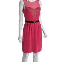 BCBGMAXAZRIA begonia silk sweetheart inset belted dress | BLUEFLY up to 70% off designer brands