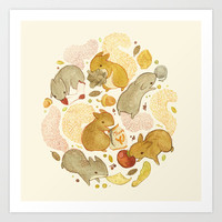 Things Squirrels Probably Shouldn't Be Eating Art Print by Teagan White