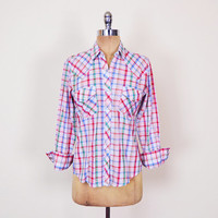 Green Blue Red Plaid Shirt Plaid Western Shirt Western Pearl Snap Shirt Snap Up Button Up Shirt 70s Shirt 70s Hippie Shirt Women 34 S Small