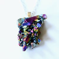 Cosmic Galaxy Necklace - Rainbow flame aura druzy quartz cluster necklace - Sunshine Neon One of a Kind Jewelry