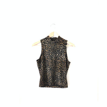 leopard print turtle neck / CROPPED illusion lace 90s CLUB KID animal print fitted tank top