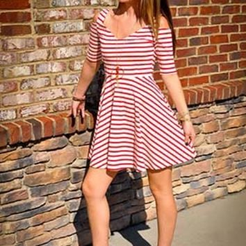 Striped Cold Shoulder Mini Dress | Tempt Boutique of Mooresville, NC - Men's and Women's Clothing and Online Shopping