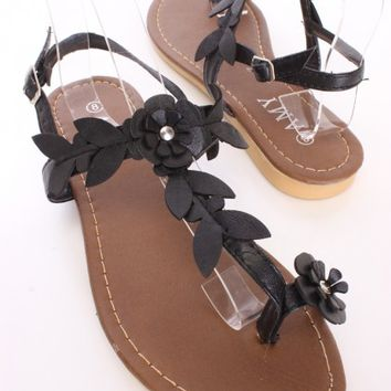 Black Floral T Strap Sandals Faux Leather