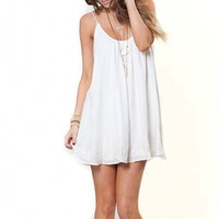 May&Maya Women's White Halter Open Back Fly Away Mini Casual Dress (L)