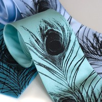 Peacock feather necktie Silkscreened silk tie black by toybreaker