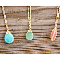 Serenity Lake Drop Stone Pendant Long Necklaces