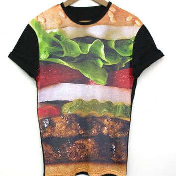 Burger Black All Over T Shirt