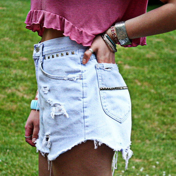 High Waisted Studded Shorts
